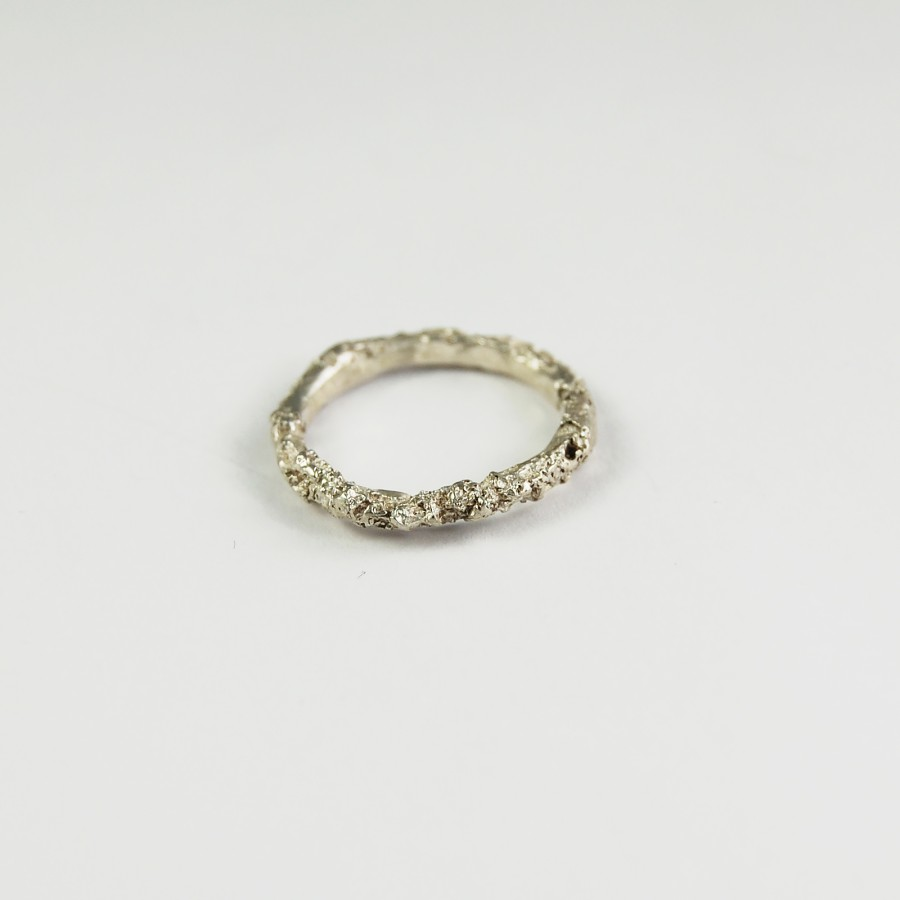 Texture silver ring