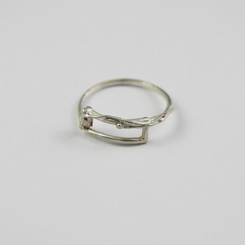 Geometric silver ring