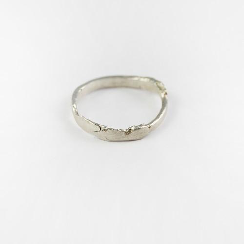 Flat silver ring